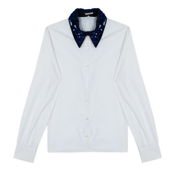 Miu Miu Blue Sequined Collar White Poplin Shirt L