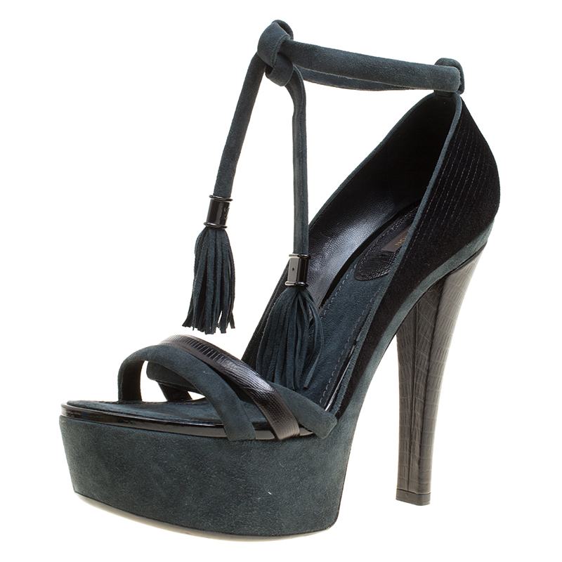 Купить со скидкой Louis Vuitton Black /Grey Fabric, Leather and Suede Platform Sandals Size 38.5