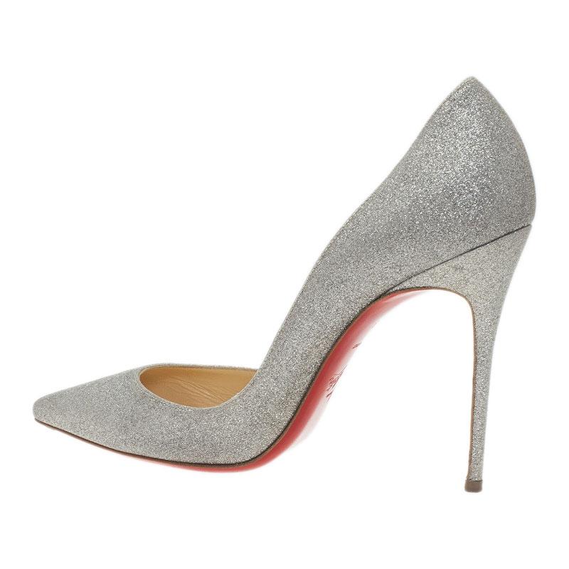 Christian Louboutin Silver Glitter Iriza D'Orsay Pumps Size 39