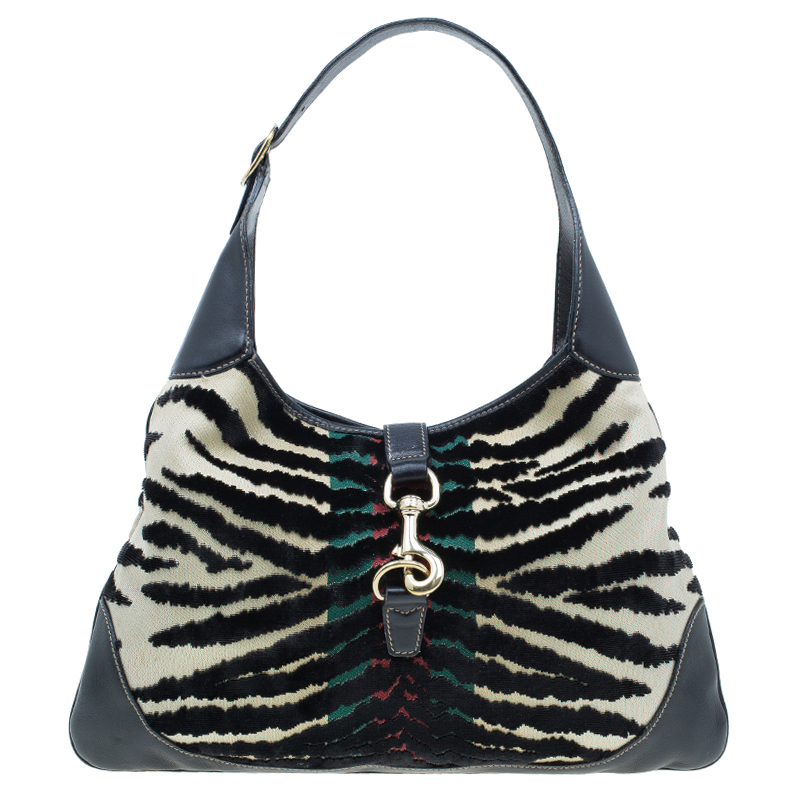 Gucci Black Fabric/Leather Zebra Print Jackie O Hobo Bag