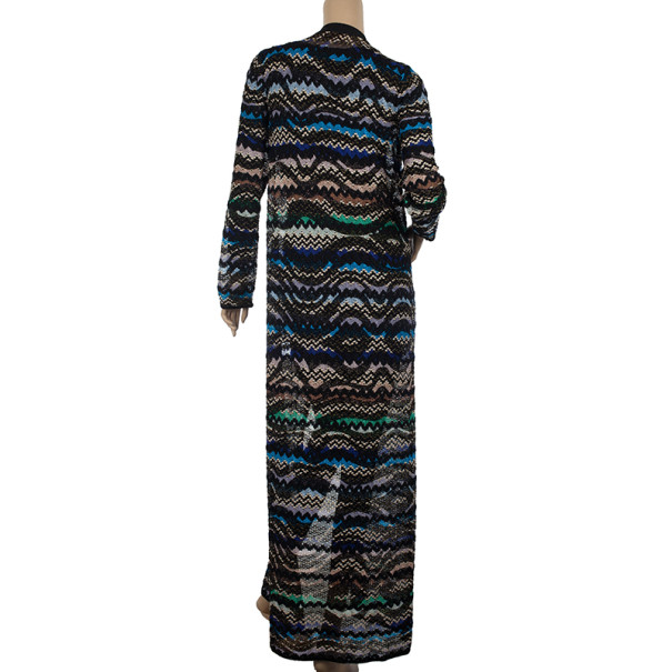 Missoni Metallic Multicolor Open Maxi Cardigan L