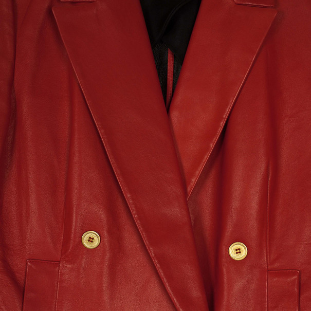Yves Saint Laurent Red Leather Blazer Jacket M