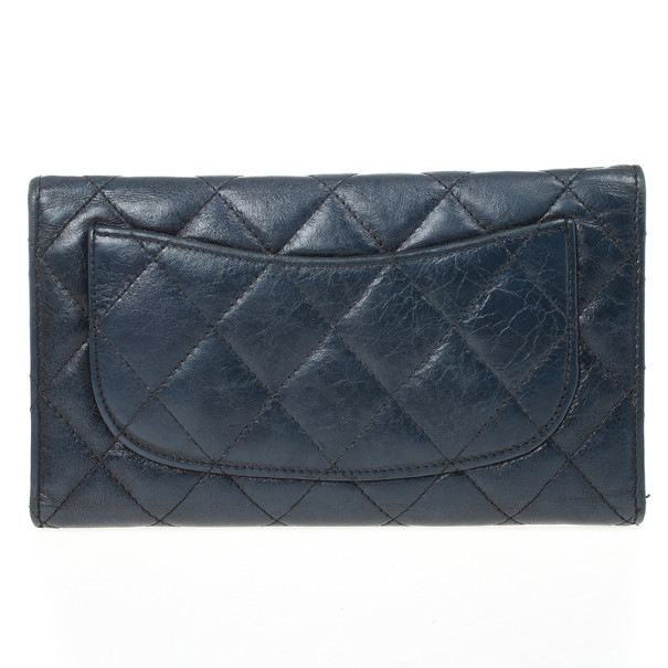 Chanel Blue Quilted Lambskin Leather Long Flap Wallet