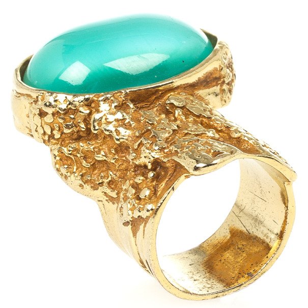 Saint Laurent Arty Green Oval Ring Size 53