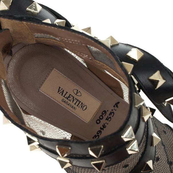 Valentino Black Rockstud Mesh Ankle Booties Size 38