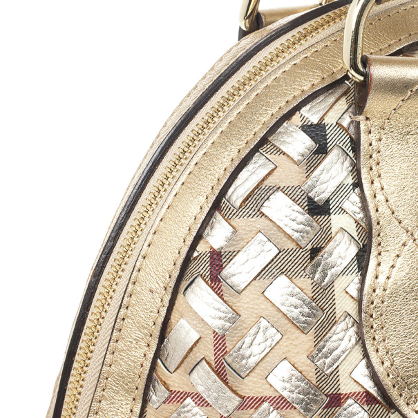 Burberry Metallic Gold Woven Top Handle Bag