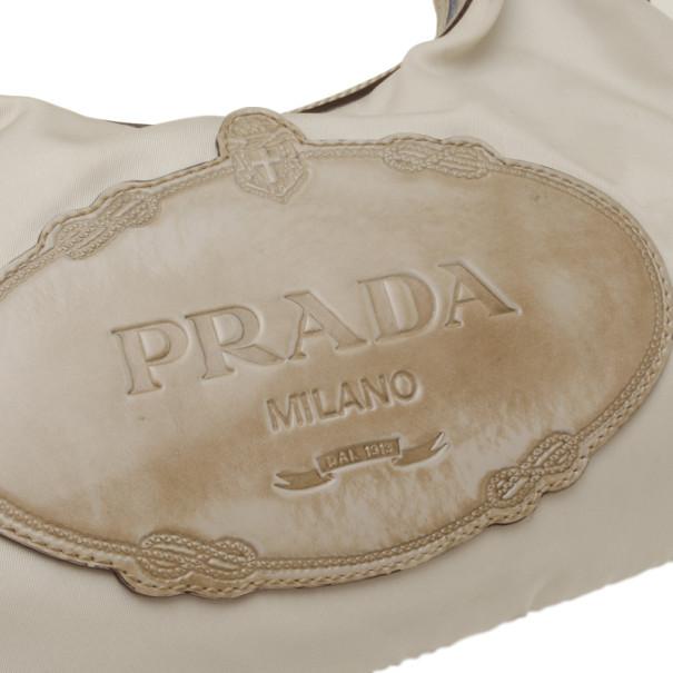 Prada Logo Nylon and Leather Hobo