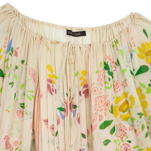 Roberto Cavalli Floral Print Silk Top M