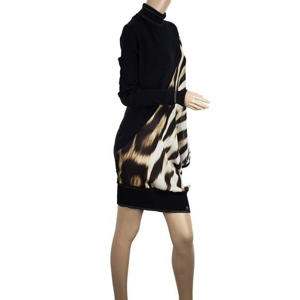 Roberto Cavalli Leopard Print Silk Chiffon & Wool Knit Dress XL
