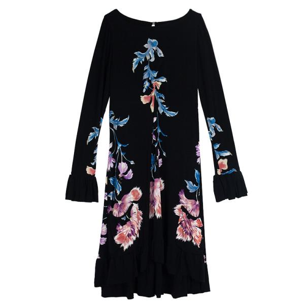 Roberto Cavalli Floral Print Flare Dress L