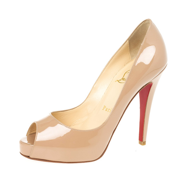 Christian Louboutin Nude Patent Very Prive 120mm Peep Toe Pumps Size 35.5