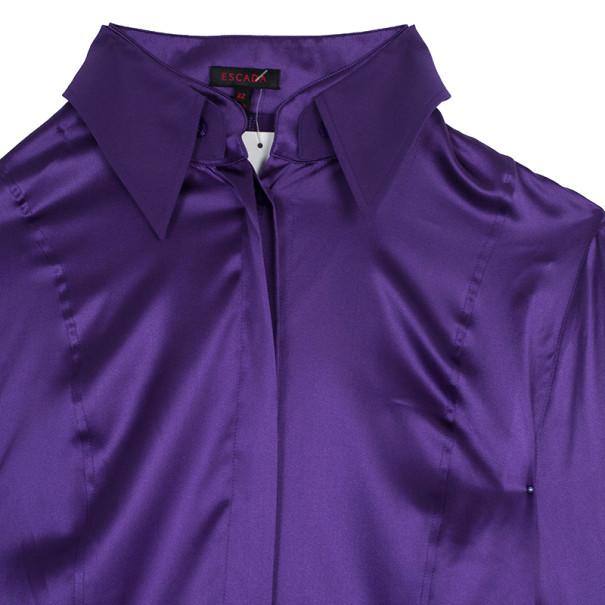 Escada Purple Silk Button Down Top L