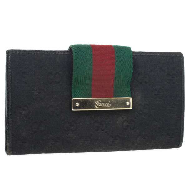 Gucci Black Continental Wallet With Engraved Gucci Script Logo