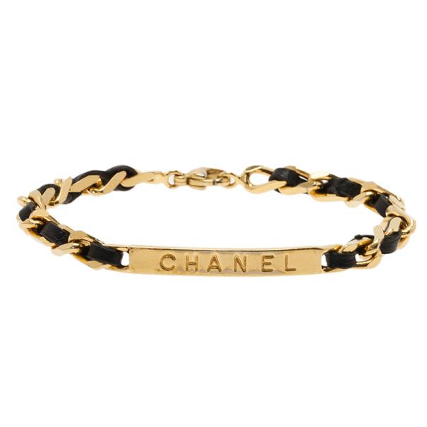 Chanel Vintage Classic Black Leather Gold Chain Bracelet 19.5CM