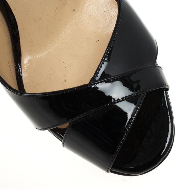 Christian Louboutin Black Patent Marplesoft Slingback Wedges Size 38