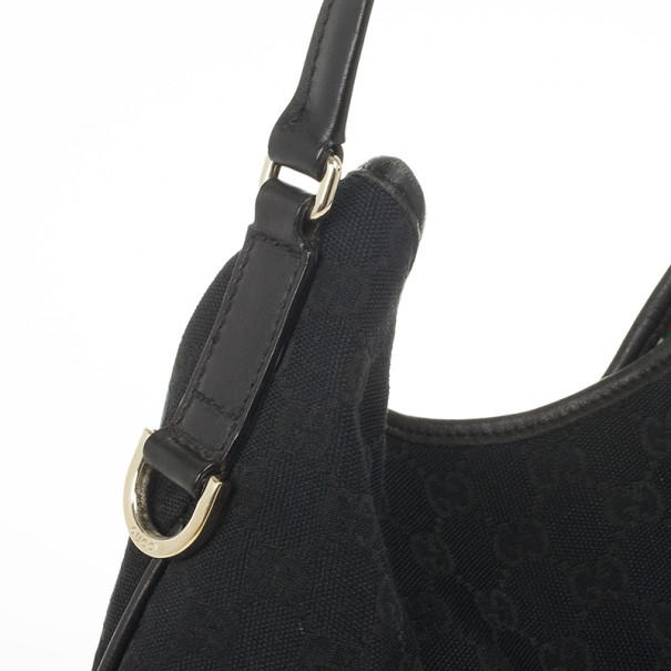 "Gucci Black GG ""New Britt"" Flat Hobo Canvas Bag"