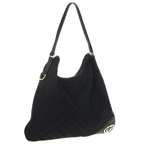 "Gucci Black GG ""New Britt"" Flat Hobo Canvas Bag"
