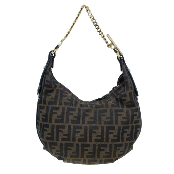 Fendi Zucca Canvas Chef Chain Link Hobo