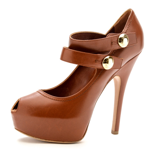 Louis Vuitton Tan Leather Ritual Mary Jane Platform Pumps Size 38
