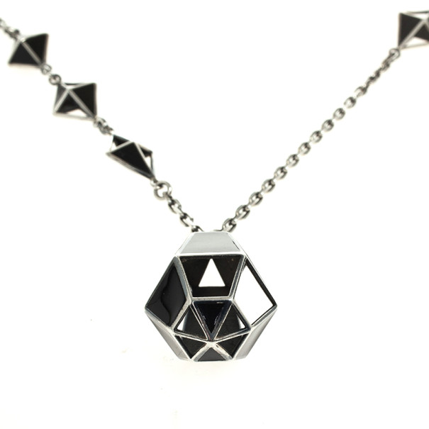 Bottega Veneta Nero Geometrie Enameled Antique Silver Pendant