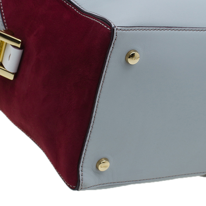 Tod's Grey/Burgundy Leather Small D-Cube Bowler Bag