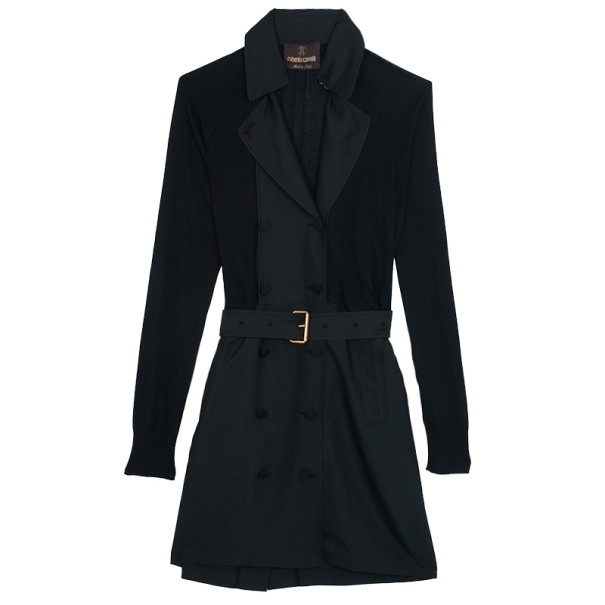 Roberto Cavalli Black Knit & Polyester Trench Coat L