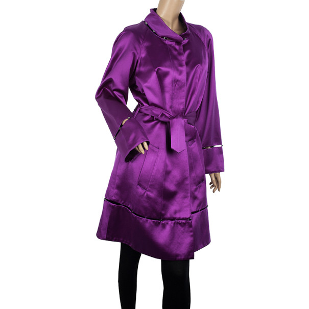 Roberto Cavalli Rivet Embellished Silk Satin Coat S