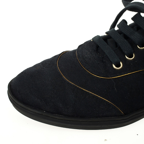 Gucci Black Guccissima Canvas Aerobic Sneakers Size 37.5
