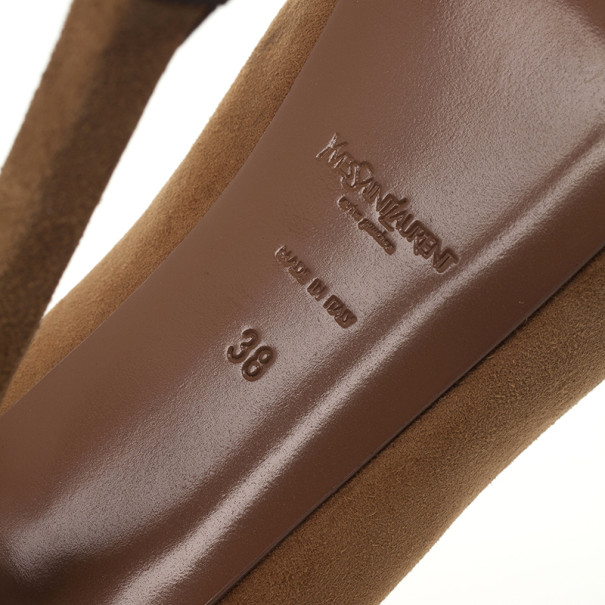 Saint Laurent Paris Nude Suede And Patent Leather Cap Toe Tribtoo Platform Pumps Size 38
