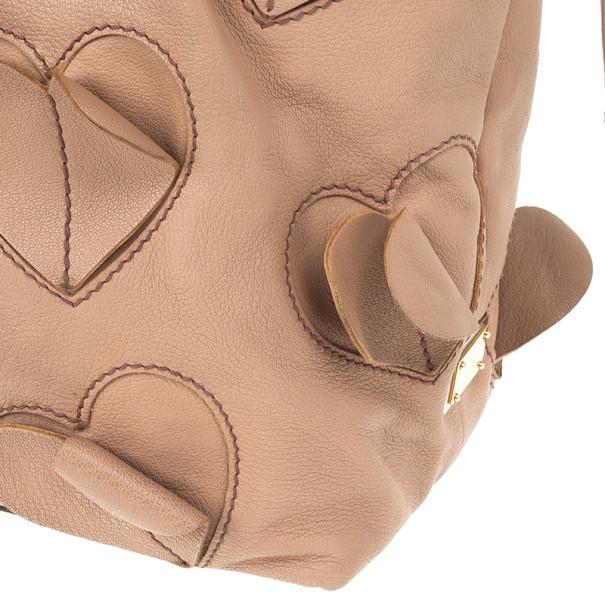 Dolce and Gabbana Pink Blush Leather 'Heart' Handbag