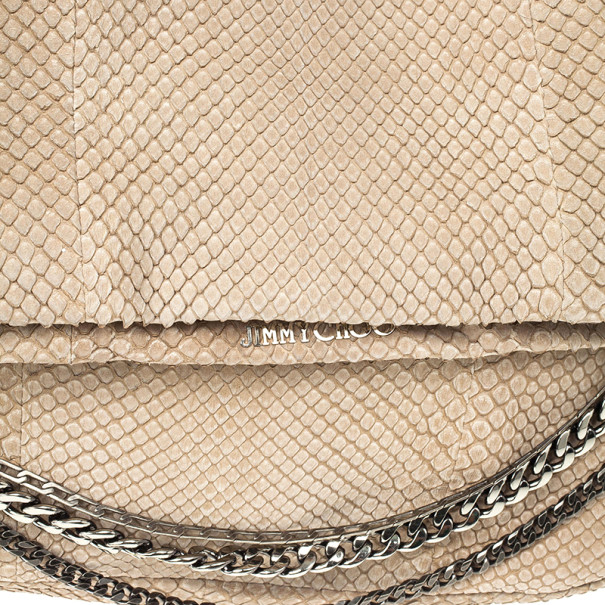 Jimmy Choo Beige Slate Python Shoulder Bag