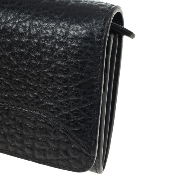 Burberry Black Ziggy Grainy Leather Continental Wallet