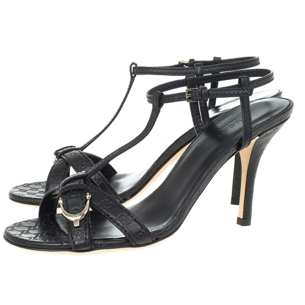 Gucci Black Leather Nice Microguccissima Mid Heel Sandals Size 37.5