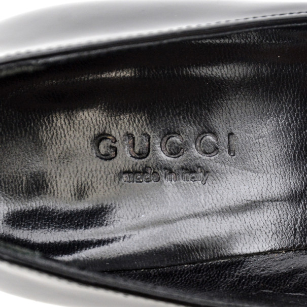 Gucci Black Patent Diamond Vernice Pumps Size 35.5