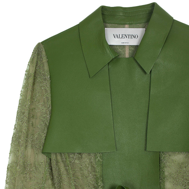 Valentino Leather & Chantilly Lace Trench Coat L