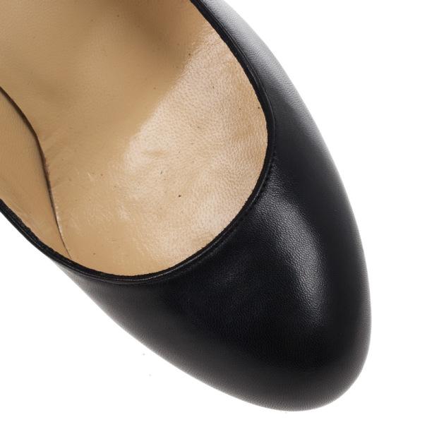 Christian Louboutin Black Leather Chain Detail Metal Heel Pumps Size 38
