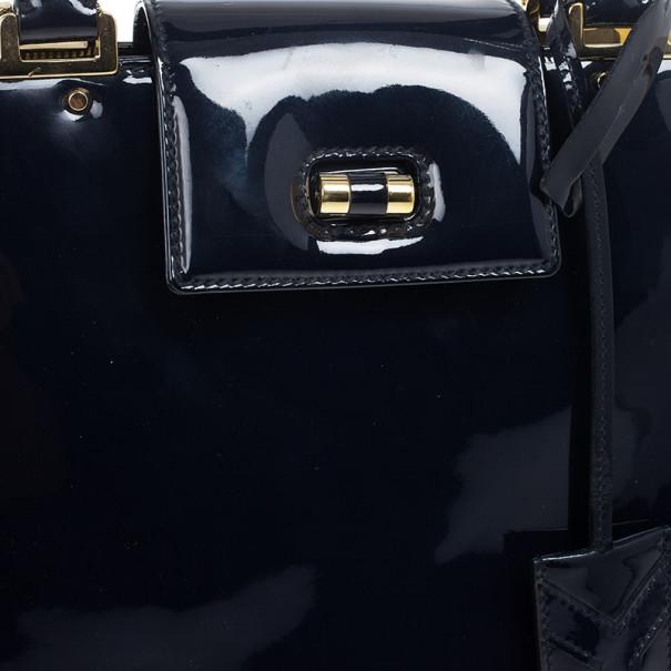 Yves Saint Laurent Blue Patent Leather Large Uptown Bag