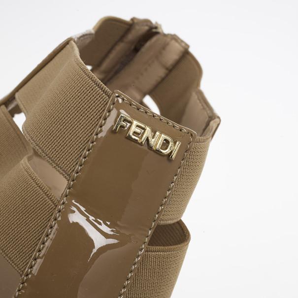Fendi Beige Patent T-Strap Espadrille Wedge Sandals Size 39