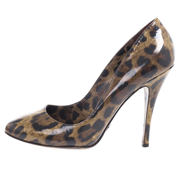 Dolce and Gabbana Brown Leopard Print Patent Pumps Size 39