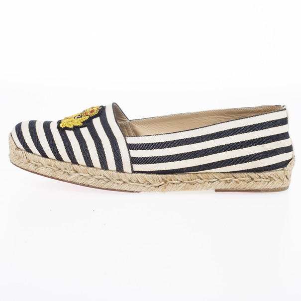 Christian Louboutin Galia Striped Canvas Espadrille Loafers Size 39