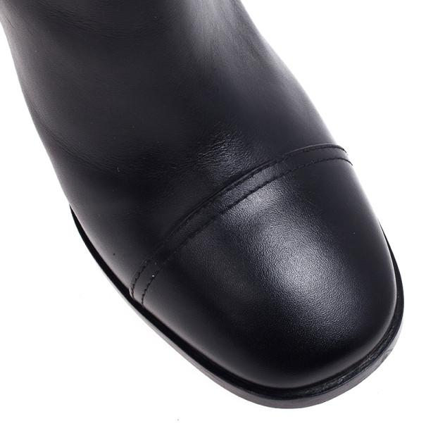 Yves Saint Laurent Black Leather Signature Buckle Ankle Boots Size 39