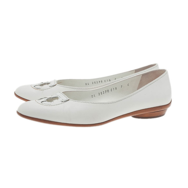 Salvatore Ferragamo White Leather Fly Ballet Flats Size 37.5
