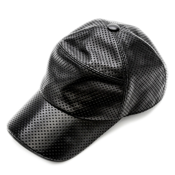 Hermes Black Perforated Leather Cap Size 60