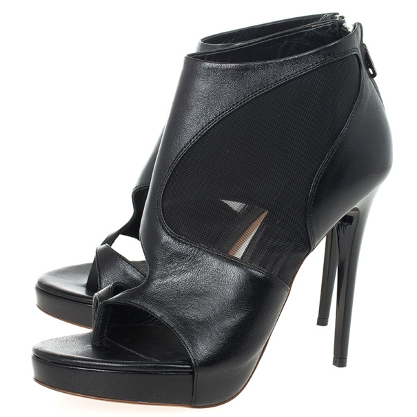 McQ by Alexander McQueen Sheer Block Leather Booties Size 38