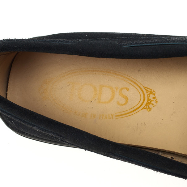 Tod's Black Suede Bow Loafers Size 38.5