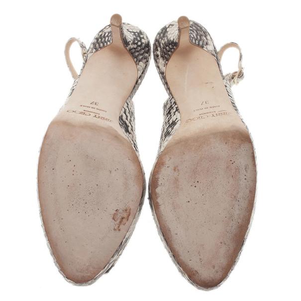 Jimmy Choo Snakeskin Peep Toe Nova Slingback Sandals Size 37