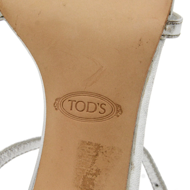 Tod's Silver Leather Tassel T Strap Sandals Size 37.5
