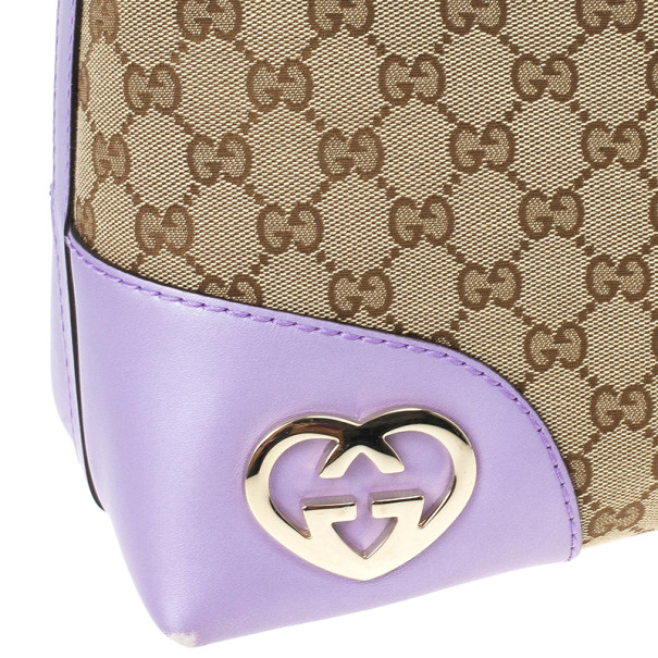 Gucci Monogram Lavender Trim Lovely Hobo