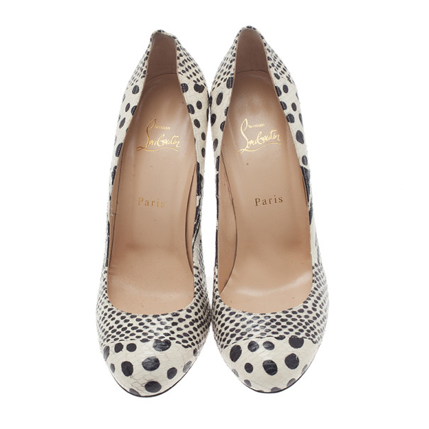 Christian Louboutin Black and White Watersnake Fifi Pumps Size 40.5
