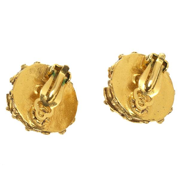 Chanel Pearl CC Logo Studded Clip On Earrings